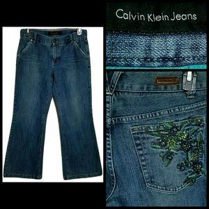 VTG Calvin Klein Jeans Denim Floral Rhinestone 8